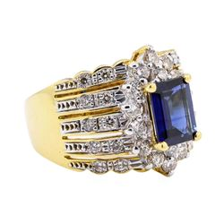 18KT Yellow Gold 1.58 ctw Sapphire and Diamond Ring