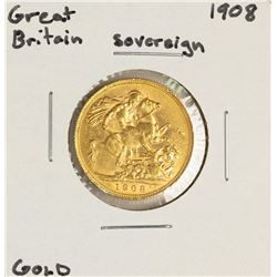 1908 Great Britain Sovereign Gold Coin