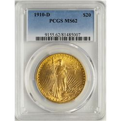 1910-D $20 St. Gaudens Double Eagle Gold Coin PCGS MS62