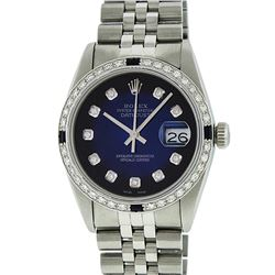 Rolex Men's Stainless Steel Blue Vignette Diamond & Sapphire Datejust Wristwatch