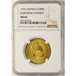 1976 Austria 1000 Schilling Babenberg Dynasty Gold Coin NGC MS66