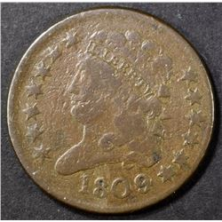 1809 HALF CENT, FINE