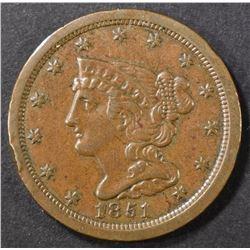 1851 HALF CENT, AU/BU