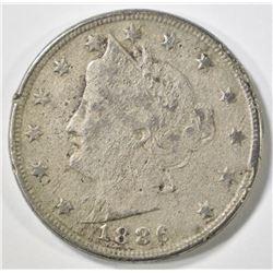 1886 LIBERTY NICKEL FINE POROUS