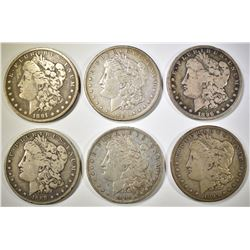 6 CIRCULATED MORGAN DOLLARS