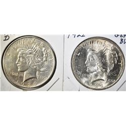 1922 GEM BU & 26-D AU PEACE DOLLARS