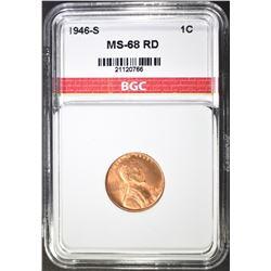 1946-S LINCOLN CENT, BGC SUPERB GEM BU+ RED