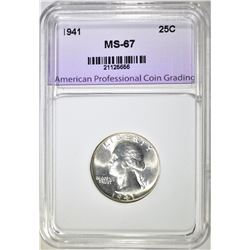 1941 WASHINGTON QUARTER, APCG SUPERB GEM BU