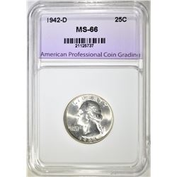 1942-D WASHINGTON QUARTER, APCG SUPERB GEM BU