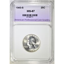 1943-S WASHINGTON QUARTER, SUPERB GEM BU