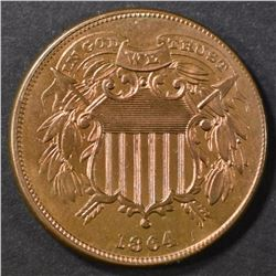 1864 SMALL MOTTO  2 CENT  CH BU  RB