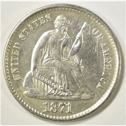 1871 SEATED LIBERTY HALF DIME  BU