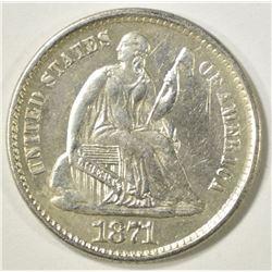 1871 SEATED LIBERTY HALF DIME  BU