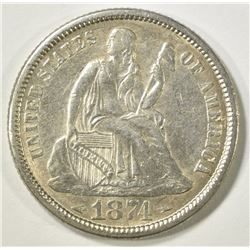 1874 SEATED LIBERTY DIME   AU/BU