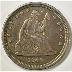 1840-O DRAPERY SEATED LIBERTY QUARTER  AU/BU