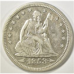 1853 ARROWS & RAYS SEATED QUARTER  CH AU