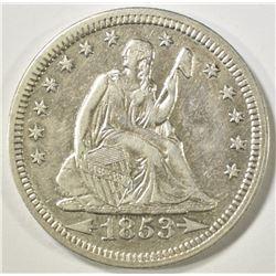1853 ARROWS & RAYS SEATED QUARTER  CH AU