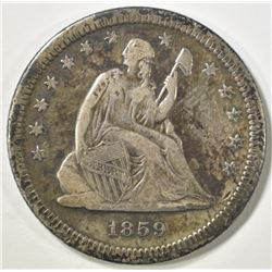 1859-S SEATED LIBERTY QUARTER   VF