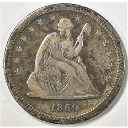 1859-S SEATED LIBERTY QUARTER   VF