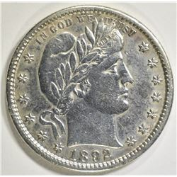 1892-S BARBER QUARTER  AU CLEANED