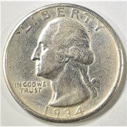 1934-D WASHINGTON QUARTER  AU