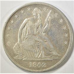 1842-O SEATED LIBERTY HALF DOLLAR  AU