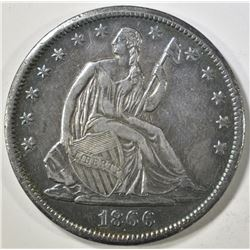1866-S SEATED LIBERTY HALF DOLLAR  AU