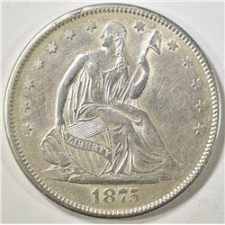 1875-S SEATED LIBERTY HALF DOLLAR  CH AU