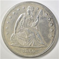 1860 SEATED LIBERTY DOLLAR   AU/BU