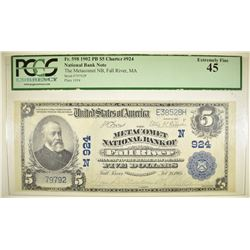 1902 $5 NC METACOMET NB OF FALL RIVER, MA  PCGS 45