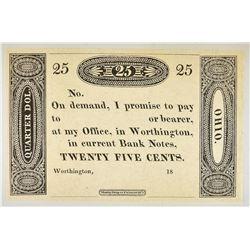 1810'S-20'S 25 CENT WORTHINGTON, OHIO