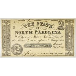1861 $2 STATE OF NORTH CAROLINA