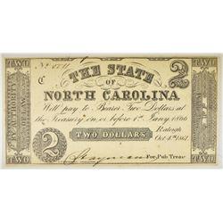 1861 $2 STATE OF NORTH CAROLINA