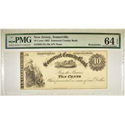 1862 10 CENT SOMERSET COUNTY BANK  PMG 64 EPQ