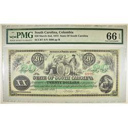 1872 $20 STATE OF SOUTH CAROLINA PMG 66 EPQ