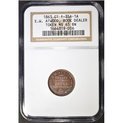 1863 CWT E.W. ATWOOD BOOKSELLER NGC MS-65 BN