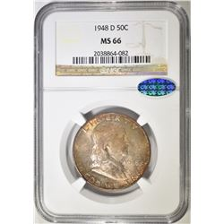 1948-D FRANKLIN HALF DOLLAR  NGC MS-66 CAC