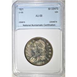 1821 CAPPED BUST HALF DOLLAR  NNC AU BU