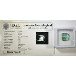 4.10 CARATS NATURAL EMERALD SQUARE CUT