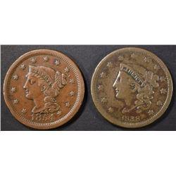 1838 VF & 1854 AU LARGE CENTS