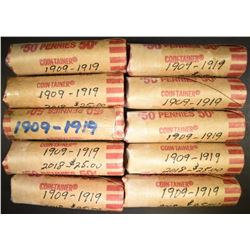 10-ROLLS MIXED DATE CIRC LINCOLN CENTS 1909-19