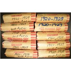 10-ROLLS MIXED DATE CIRC LINCOLN CENTS 1920-29