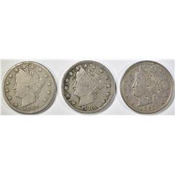 3 LIBERTY NICKELS 1883 W/C F, 83 N/C XF, 84 F