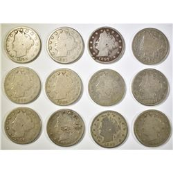 1887-1898 LIBERTY NICKELS, 12 COINS