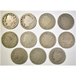 11 LIBERTY NICKELS 1884-1896 MOSTLY GOOD