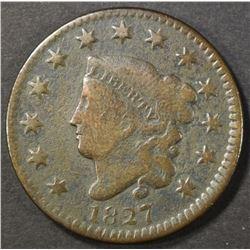 1827 LARGE CENT, G/VG