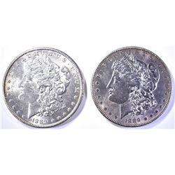 2-CH BU 1889 MORGAN DOLLARS 1 WITH TONING