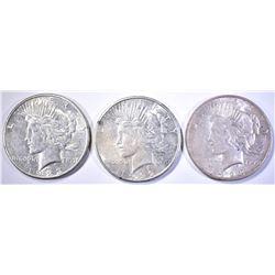 1922-S, 23-S,D PEACE DOLLARS AU/BU