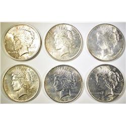(5) 1922  & 1-1922-D BU PEACE DOLLARS