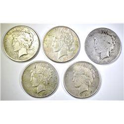 5-CIRC PEACE DOLLARS: